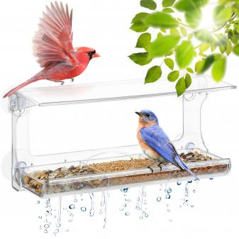 Transparent bird feeder for wind...